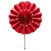 Red Flower Paper Fans (packs of 10)