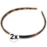 Geen 2x Zwart/bruine dames diadeem/haarband 0,7 cm breed
