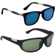 Zyaden Wayfarer, Wrap-around Sunglasses(Black, Green)