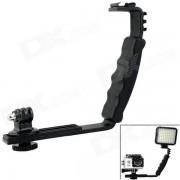 de doble zapata de soporte de mano w / adaptador de montaje para la camara? GoPro-negro