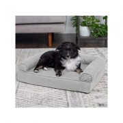 FurHaven Quilted Orthopedic Sofa Cat & Dog Bed w/ Removable Cover, Small, Silver Gray