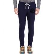 Cliths Navy Blue Melange Slim Fit Zeep Printed Lower for Men