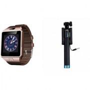 Mirza DZ09 Smart Watch and Selfie Stick for LG OPTIMUS L1 II TRI(DZ09 Smart Watch With 4G Sim Card Memory Card| Selfie Stick)