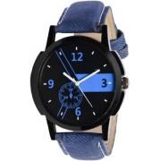 KDS BEst Roman Round Analog Blue Leather Mens Quartz Watch
