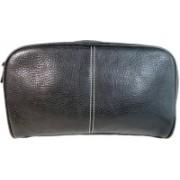 Leatherman Fashion Genuine Leather toiletry bag Travel Toiletry Kit(Black)