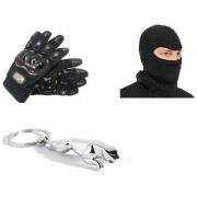 Combo Of Pro Biker Gloves + Full Face Mask+Jaguar Key Chain