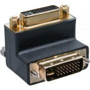 Adaptor DVI-I unghi de 90 de grade 24 analogic + digital, + 5 masculi - femele negru (17781W)