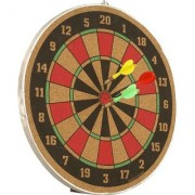 Shribossji Wooden 2 In 1 Dart Board Game Set 17 Inch Board Game for kids (Multicolor)