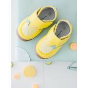 VERTBAUDET Sapatinhos em pele suave, para bebé menina amarelo claro liso com motivo