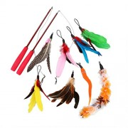 10Pcs Retractable Cat Toys Interactive Feather Teaser Wand Toy with 8 Refills Feathers Catcher for Cats Kitty