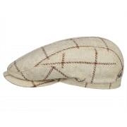 Stetson Driver Cap Wool/Silk Check Flatcap, Beige (176) 54-55 cm (S)
