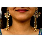 Golden Colored Peacock Pattern With Hanging Pearl Chains Designer Earring