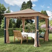 taltpartner.se Trädgårdspaviljonger 3x3m polyester med PU-beläggning 280 g/m² taupe vattentät