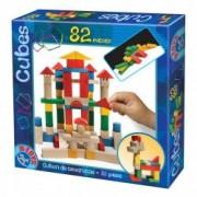 Joc educativ- cuburi de constructie Deico din lemn 82 de piese