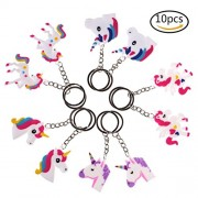 JETTINGBUY 10 Pieces Assorted Unicorn Party Favor Keychains Door Car Key Chain Tags Keyring Ring Keychain Best Gift for Kids-5 Different Designs