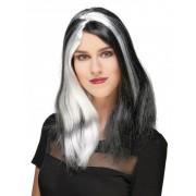 Vegaoo Lange zwart-wit pruik voor vrouwen Halloween One Size
