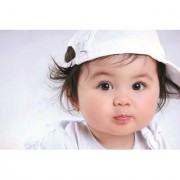 EJA Art Cute baby love cute baby with white hat Without Frame Paper Poster/ Size 30X45 cms (With 12 Butterfly Free)