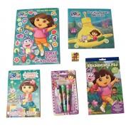 Dora the Explorer Activity Gift Set ~ The Adventures of Boots and Dora (Sticker Adventure, Christmas Booklet, Roller Stamper Marker, Sticker Book, Dora's Ocean Mission; 6 Items, 1 Bundle)