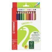 STABILO International GmbH STABILO® Greentrio Buntstifte, Farbstift in dicker, ergonomischer Dreikant-Form passen perfekt in Kinderhände, 1 Packung = 12 Stück, farbig sortiert