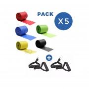 5 Bandas Elasticas 15 Cm X 10 Mt x 5 Colores + Bandas Loops