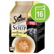 - 16x40г Classic Soup Sheba, консервирана храна за котки: филета от морска риба и зеленчуци