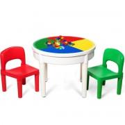Costway Ensemble Table et 2 Chaises 3 en 1 Multi-Usage Activités de Construction avec 300 Blocs de Constructions pour Enfants 3 ans +