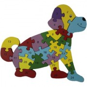 Shy Shy Wooden Jigsaw Puzzle In Shape Of Dog Each Piece Painted With Alphabets On One Side 1-26 Numbers On Other