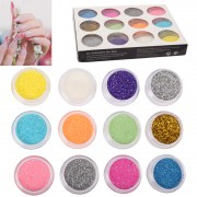 12 x Colorful Sparkly Colors Boxed Crushed Shell Powder Nail Art Tip Decoration