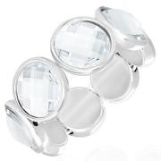 Bratara eleganta argintie cu strasuri mari albe