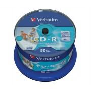 VERBATIM CD-R lemez, nyomtatható, matt, no-ID, AZO, 700MB, 52x, hengeren, VERBATIM