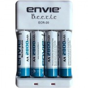 Envie Bettle ECR-20 Combo With 4xAA 2800 Ni-MH rechargeable Camera Battery Charger