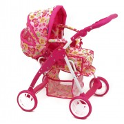 Carucior pentru papusi cu landou Pink Butterfly