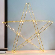 Brass-coloured LED star Super 45 cm