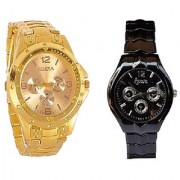 Rosra Gold and Rosra Black Dial Black Women Watches Couple For Men and Women
