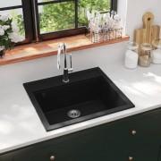 vidaXL Lava-louça com 1 cuba granito preto