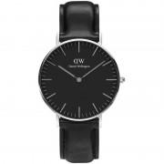Daniel Wellington Classic Black Sheffield Watch 36 mm Leather Silver