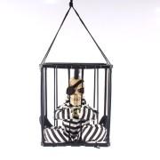 Caveira Prisioneira de Halloween com Moicano e Tapa-Olho