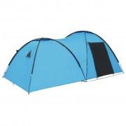 vidaXL Палатка за къмпинг тип иглу, 450x240x190 см, 4-местна, синя