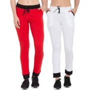 Cliths Cotton Slim Fit Solid Red Black White Black Track Pants for Women/ Yoga Pant for Women/Girls Pack Of 2