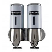 Dozator sapun lichid ABS 500 ml dublu Cleanmann, Alb