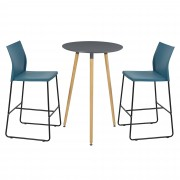 [en.casa] Mesa de bar redonda - diseño retro - gris - set de 2 sillas de diseño - turquesa
