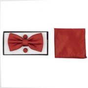 DAPPER HOMME Red Self Design Polyester Bow Tie Pocket Square and Cufflinks Set for Men