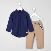 River Island Mini boys Navy shirt and braces chinos outfit
