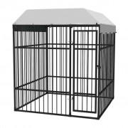 vidaXL Дворна клетка за кучета с покрив, 2x2x2,3 м