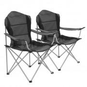 vidaXL Сгъваеми къмпинг столове, 2 бр, 96x60x102 см, сиви