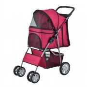[pro.tec]® Carrito para mascotas - Pet Stroller - Hundebuggy - impermeable - para empujar - Roadster con cesta para guardar objetos - Rojo