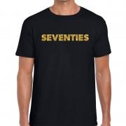 Bellatio Decorations Seventies gouden glitter tekst t-shirt zwart heren
