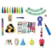Kala Decorators Special Birthday Decoration Kit For Boy -Gold and Black Balloon,Party Props,Popper,Banner,Multicolor Hanging Paper Garland,Musical Candle,Center Big Balloon,Ribbon,Birthday Badge,Thermocol Balls,Candle,Special Boy Cap,Pump,Tape,Knife,Decor