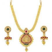 Om Jewells Gold Plated Traditional Ethnic Wedding Collection Jewellery Set made with Kundan Stones for Girls NL1000549