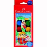Acuarele 12 culori 24MM + Pensula Faber-Castell